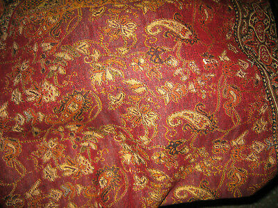 Cashmere Blanket Wool Bed Spread Floral Sofa Afghan King Size Maroon Indian Red • 78.68£