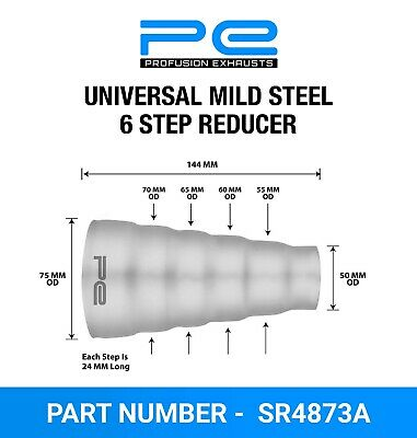 £9.95 • Buy Universal Mild Steel Exhaust 6 Step Reducer Adapter Connector Tube Pipe Cone