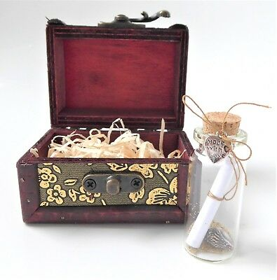 Message In A Bottle + Wooden Chest + Personalised Love Poem = Romantic Gift • 9.75£
