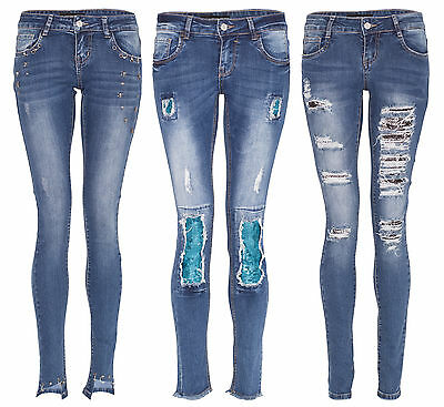 Women Skull Star Stud Sequin Ripped Jeans Ladies Skinny Distressed Lace Up Pants • 12.99£