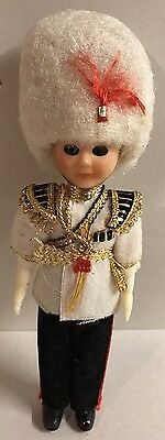 Vintage British Soldier Royal Guard 6  Doll White Uniform Hat Police • 9.96£