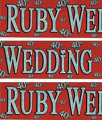40th Glitz Wedding Anniversary Foil Banner Party Decorations Unisex Party Supply • 1.30£