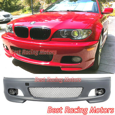 $339.99 • Buy M-Tech II Style Front Bumper + Glass Fog Fit 00-06 BMW E46 3-Series 2dr Coupe