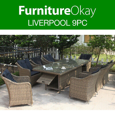 AU2799 • Buy FurnitureOkay® Liverpool 9pc Wicker Outdoor Dining Setting Patio Furniture Set