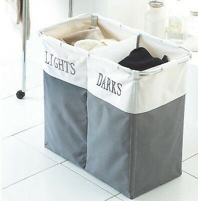 2 Compartment Laundry Clothes Washing Storage Basket Hamper Dark And Lights  • 11.99£