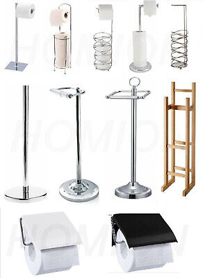 £12.99 • Buy Toilet Paper Roll Holder Storage Stand Free Standing Bamboo Chrome Toilet Loo