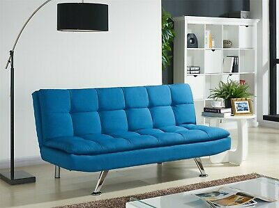 Fabric Sofa Bed 3 Seater Padded Sofabed Chrome Legs Cube Design Various Colours • 204.99£
