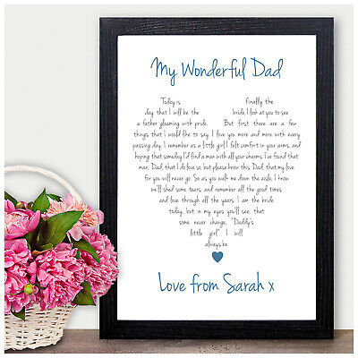 Personalised Love Heart Keepsake Poem Father Of The Bride Thank You Gifts Favour • 5.95£