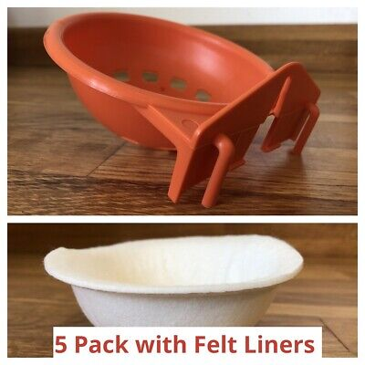 5 X PLASTIC CANARY NEST PAN & FELT LINERS For NESTING CANARIES & BIRDS • 11.95£