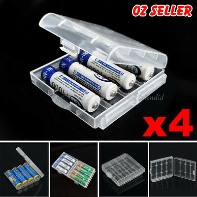 AU5.95 • Buy 4x Clear Plastic AA AAA Battery Box Storage Case Cover Batteries Holder