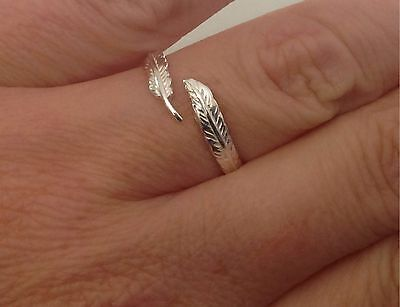 925 Sterling Silver Feather Ring Silver Sizes J  K L N P Q T Solid Silver • 12.95£