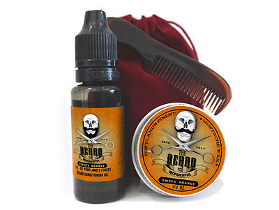 Sweet Orange Fragrance Moustache Wax,  Beard Oil, Comb & Bag Beard Grooming Kit • 8.95£