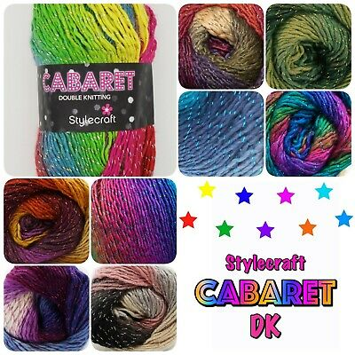 Stylecraft Cabaret DK Sparkle Variegated Multicolour Double Knit Wool Yarn 100g  • 4.40£