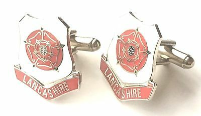 Lancashire Red Rose Enamel Crested Cufflinks (N84) Gift Boxed • 14.99£