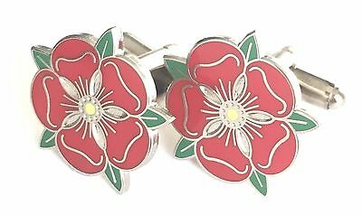 Small Lancashire Red Rose Enamel Crested Cufflinks (N27) Gift Boxed • 14.99£