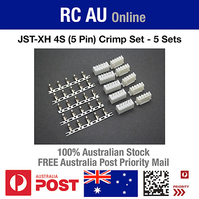 AU8.90 • Buy JST-XH 4S (5 Pin) Connector Crimp Set - 5 Sets - Aust Post Priority Shipping