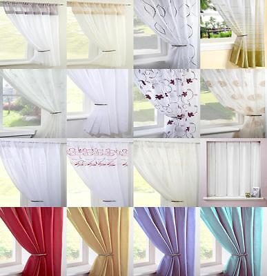 £9.99 • Buy Clearance Voile Curtain Panels Plain Floral Striped Curtains Many Sizes & Colour