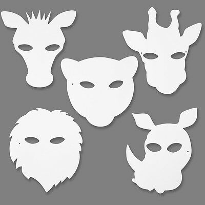 White Card Jungle Animal Masks To Colour In - Elastic Kids Craft Activity Pk 16 • 4.99£