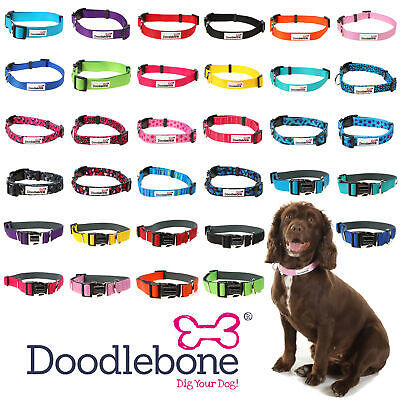Doodlebone Dog Puppy Bold Durable Nylon Adjustable Collars 5 Sizes / 12 Colours • 4.49£