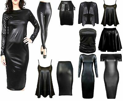 £7.99 • Buy Ladies Womens Wet Look Long Sleeve Pvc Leather Dress Bodycon Tunic Top Size 8-26