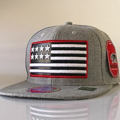 c66165e4110 USA American Flag Snapback Hat Flat Bill Adjustable OSFM Baseball Cap •  14.39