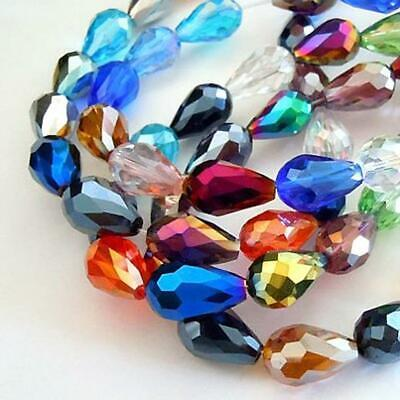 10 X FACETED TEARDROP CRYSTAL GLASS PENDANTS 15mm X 10mm AB PEARL LUSTRE • 2.29£