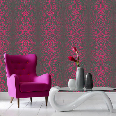 Superfresco Glamour Damask Print Subtle Glitter Black/Pink Wallpaper (Was £16) • 12.99£