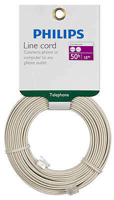£18.14 • Buy Philips 50' Almond Telephone Line Cord SWL6171H/17 Fax Modem VOIP RJ11 Lot Of 6