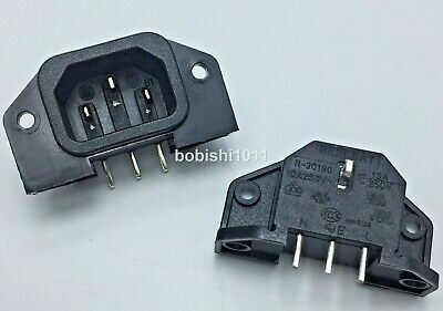Pcb Chassis Inlet Iec60320 C14 3 Pin Male Plug,panel Mount Connector 10a~250v,ac • 2.99£