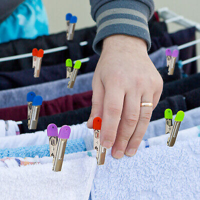 40 Laundry Pegs Stainless Steel Clothes For Washing Line Colourful Grip • 10.99£