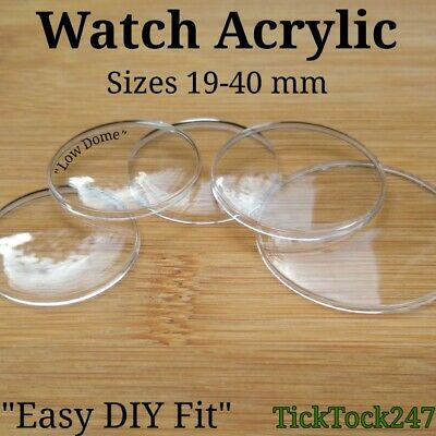 £1.95 • Buy Domed Acrylic Watch Crystal Glass Face Lens Replacement Sizes 19.00mm -  40.00mm