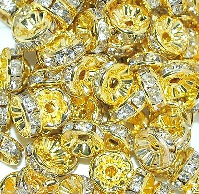 Glass Rhinestone Rondelle Spacer Beads Various Colors And Sizes  • 2.50£