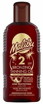 Malibu Fast Bronzing Tanning Oil SPF 2 With Tropical Coconut Fragrance 200ml • 5.61£