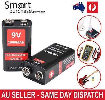AU26.59 • Buy 9V Rechargeable Battery Block Cell 1000mAh Li-ion USB Recharge 6F22 PP3 R22 Z