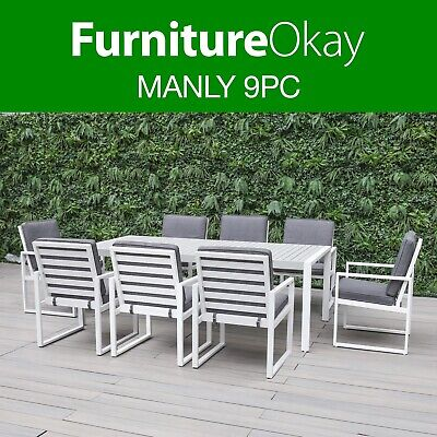 AU1899 • Buy Manly 9pc Aluminium Outdoor Dining Setting Patio Set Table Chairs Furniture