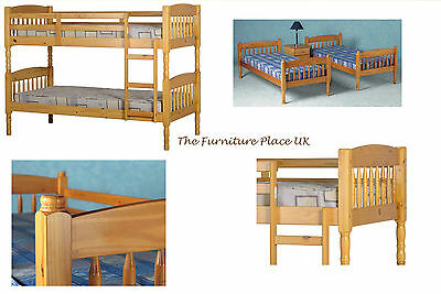 ALBANY PINE BUNK BED SPLITS IN TWO BEDs Fits 3ft Mattress • 197.99£
