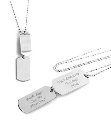Identity Army Style Double Dog Tag Necklace - PERSONALISED • 11.79£