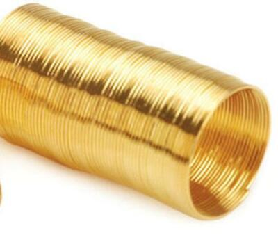 70 COILS 22mm X 0.6mm RING MEMORY WIRE GOLD PLATED • 1.99£