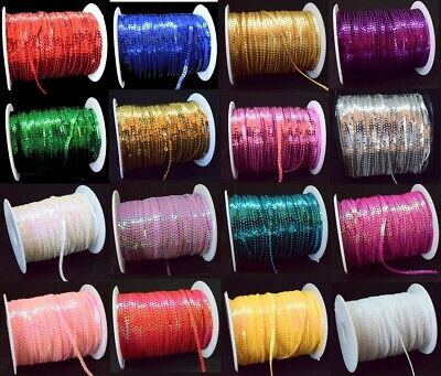 £1.50 • Buy 24 COLOURS 3mm Sequin Trim 2M 5M 10M String Round Sequins Sewing Craft Costume