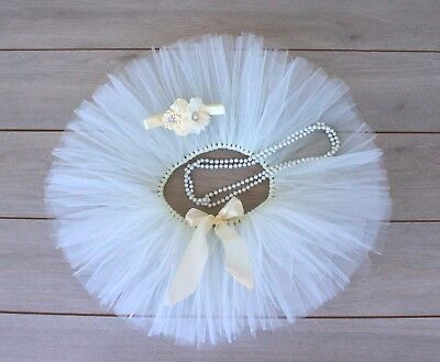 AU38 • Buy Cake Smash Outfit - Cream Ivory First Birthday Tutu Set - Baby Girl