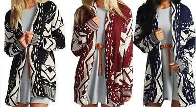 New Women's Aztec Print Long Sleeve Knitted Open Front Ladies Cardigan Plus Size • 9.95£