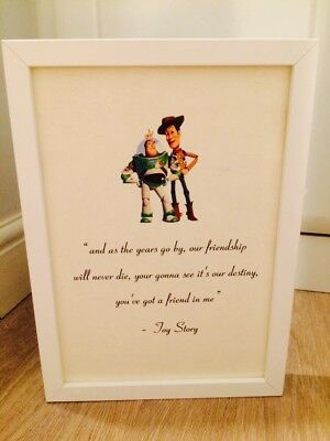 Disney Toy Story Buzz & Woody Quote A4 Print Art Framed Gift Home Christening • 3.99£