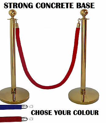 2 X Brass Queue Barrier Posts Crowd Control Security Stanchion Rope Divider Gold • 49.95£