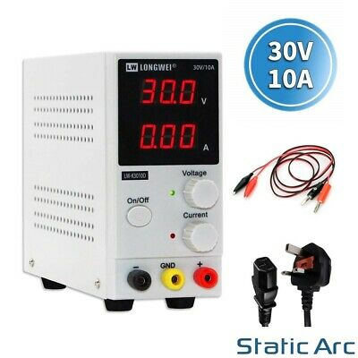 Adjustable Power Supply 30v 10a Switching Dc Digital Led Precision Lab Variable • 43.99£