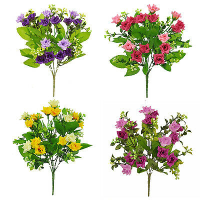 ARTIFICIAL SILK FLOWERS MINI ROSE BUNCH 4 COLOURS Wedding Home Grave Outdoor • 1.49£