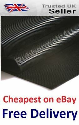 £25.99 • Buy Lowcost AntiSlip FINE Ribbed Rubber Flooring Protection Matting 120cm Wide X 3mm