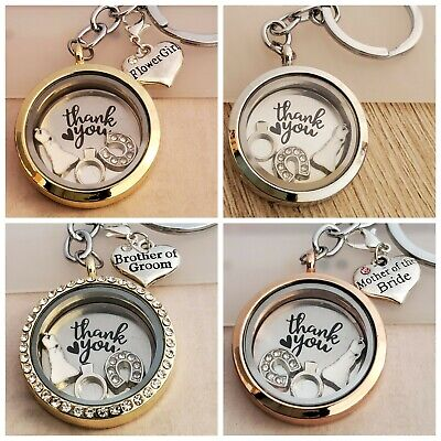 £6.45 • Buy Personalised Locket Charms For Wedding Guests Keepsake Gift Keyring/Necklace