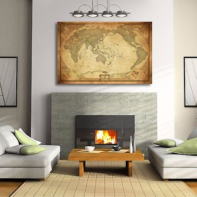 AU79.50 • Buy Vintage World Map Stretched Framed Canvas Detailed Australia Waterproof Map Wall