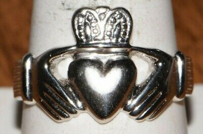$285 • Buy 14K White Gold Claddagh Ring Size 10