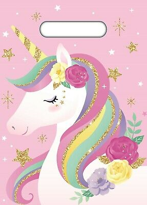 AU1.99 • Buy Unicorn Party Supplies 8 Pink Plastic Loot Lolly Treat Favour Bags Birthday Girl